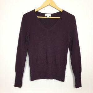 {LOFT} merino wool cashmere v neck sweater M